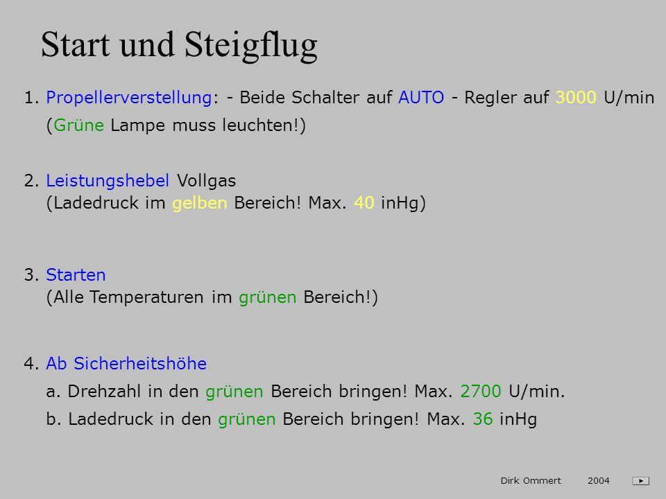 Ansaugdruck / Leistungseinstellung Bester Ansaugdruck im Reiseflug: 26 inHg Beste Drehzahl im Reiseflug: 2600 U/min 26 Dirk Ommert 2004