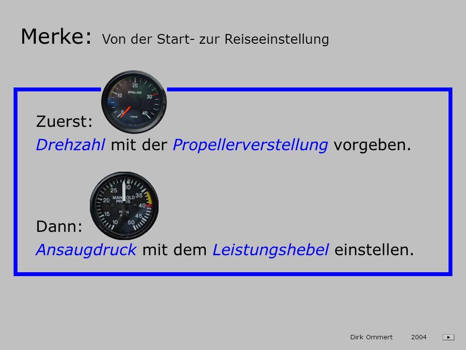 Start und Steigflug 1. Propellerverstellung: - Beide Schalter auf AUTO - Regler auf 3000 U/min 2. Leistungshebel Vollgas (Grüne Lampe muss leuchten!)