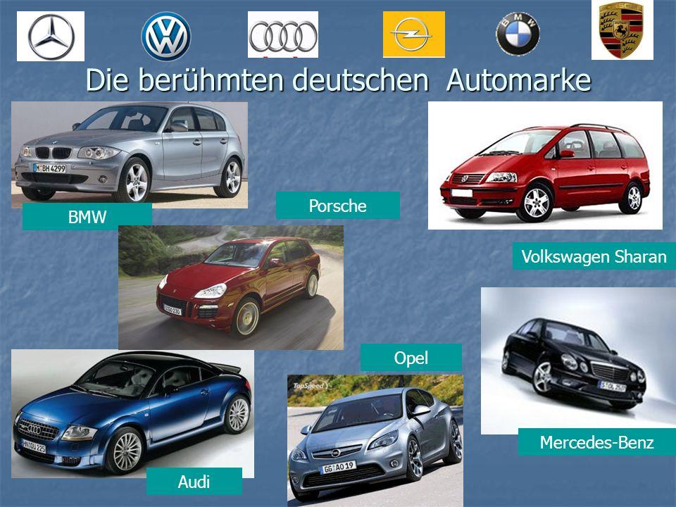 Die berühmten deutschen Automarke Volkswagen Sharan BMW Audi Mercedes-Benz Porsche Opel