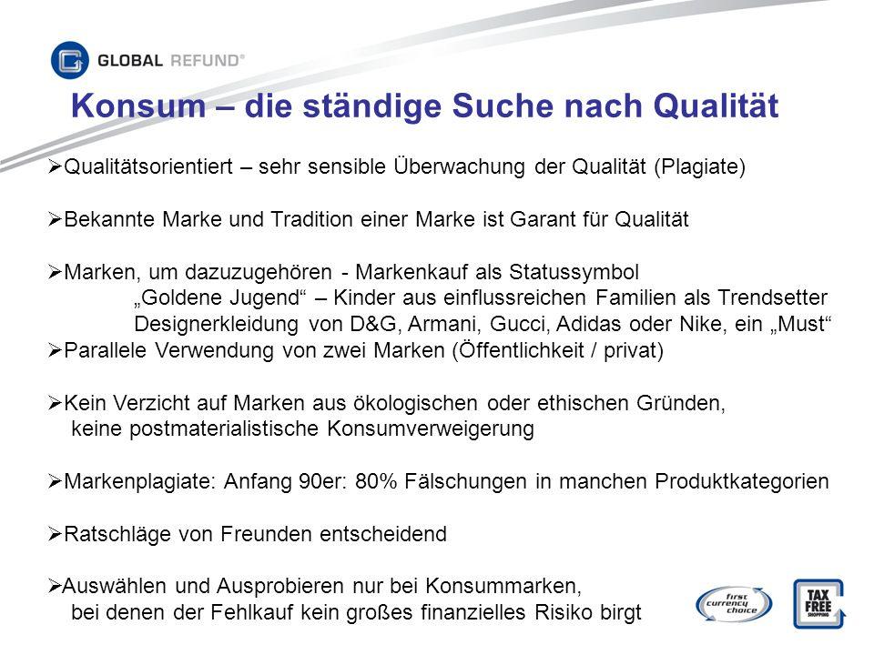 Qualitätsorientiert – sehr sensible Überwachung der Qualität (Plagiate) Bekannte Marke und Tradition einer Marke ist Garant für Qualität Marken, um da