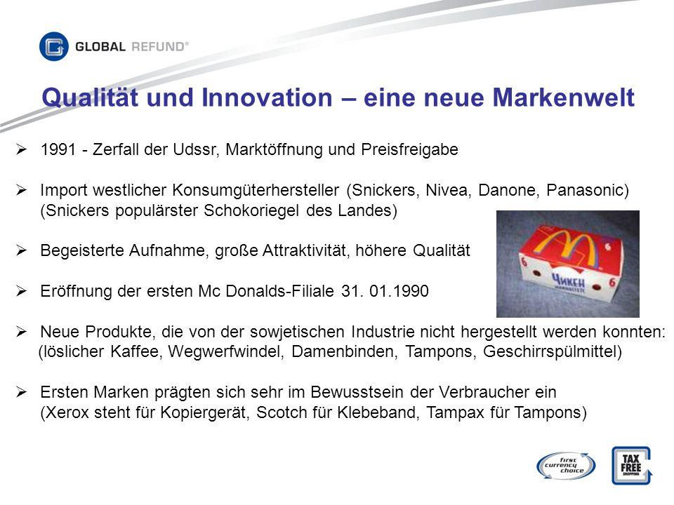 1991 - Zerfall der Udssr, Marktöffnung und Preisfreigabe Import westlicher Konsumgüterhersteller (Snickers, Nivea, Danone, Panasonic) (Snickers populä