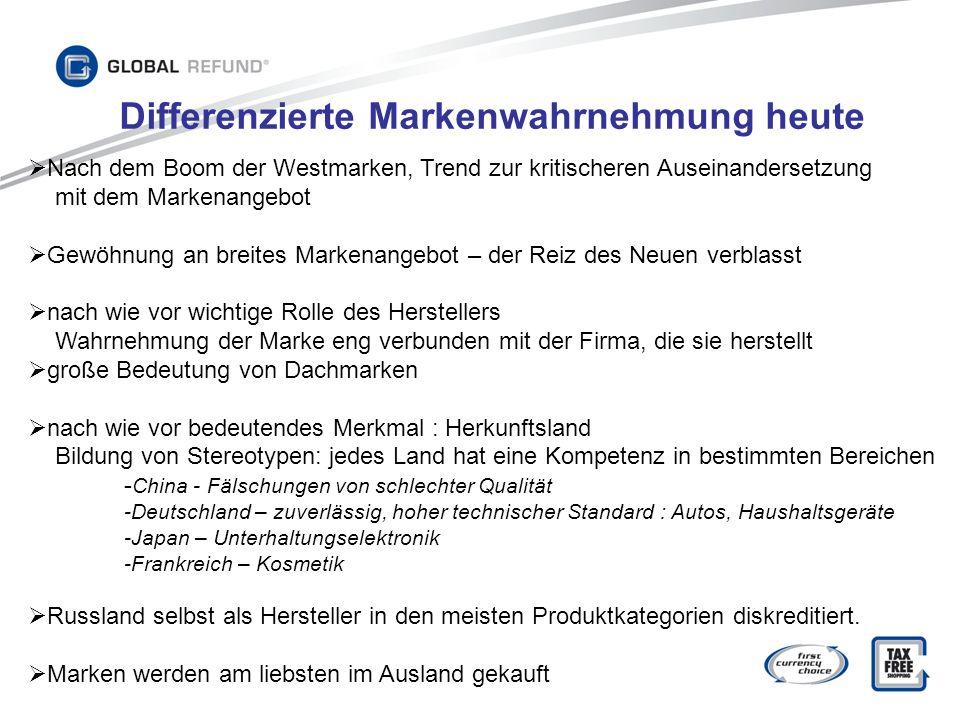Differenzierte Markenwahrnehmung heute Nach dem Boom der Westmarken, Trend zur kritischeren Auseinandersetzung mit dem Markenangebot Gewöhnung an brei