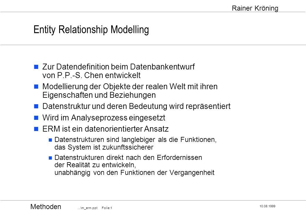 Methoden …\m_erm.ppt Folie:12 10.08.1999 Rainer Kröning Entity Relationship Grafische Notation Generalisierung und Spezialisierung mit Super- und Subtypen Entity-Typ und zugehörige Unterkategorien Supertyp wird durch Attribute beschrieben, welche auch auf alle Subtypen zutreffen Subtypen haben unterschiedliche Attribute