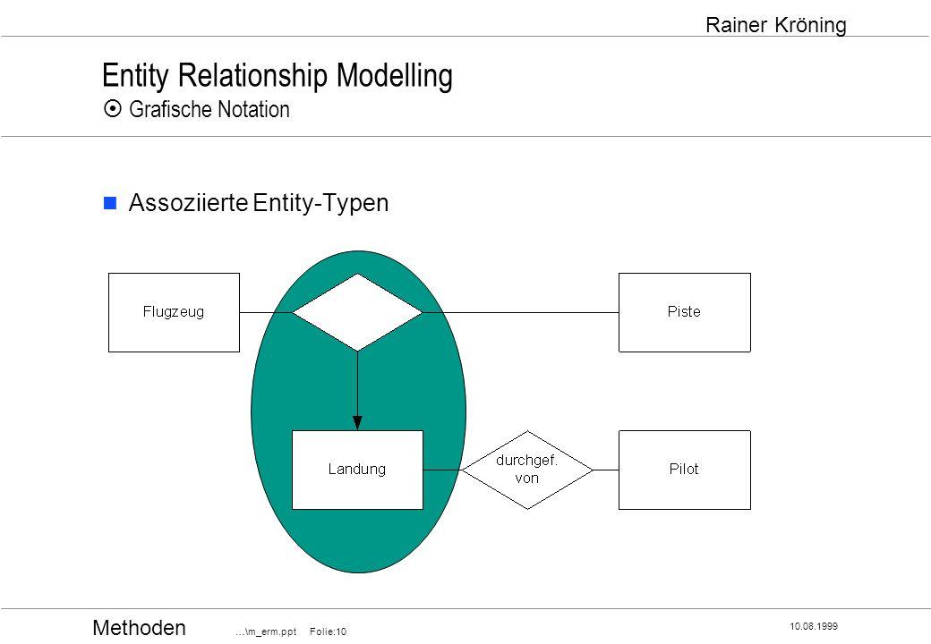 Methoden …\m_erm.ppt Folie:10 10.08.1999 Rainer Kröning Entity Relationship Modelling Grafische Notation Assoziierte Entity-Typen
