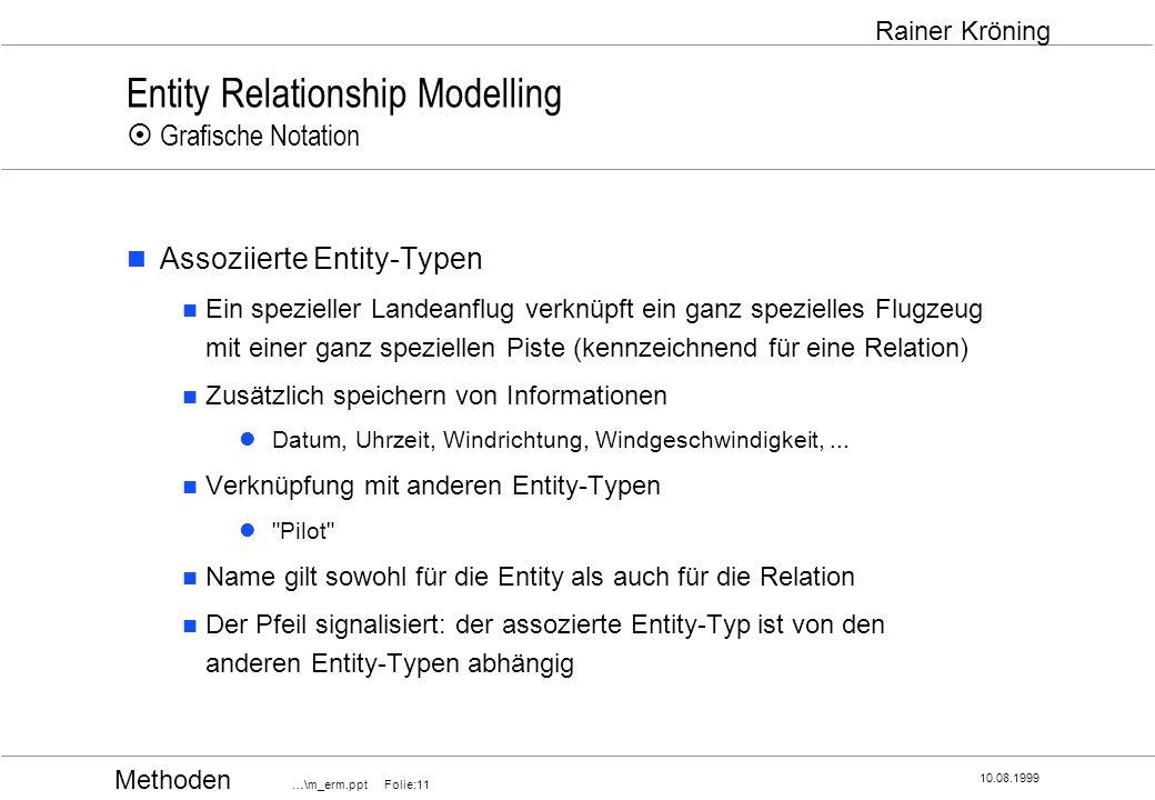 Methoden …\m_erm.ppt Folie:11 10.08.1999 Rainer Kröning Entity Relationship Modelling Grafische Notation Assoziierte Entity-Typen Ein spezieller Lande