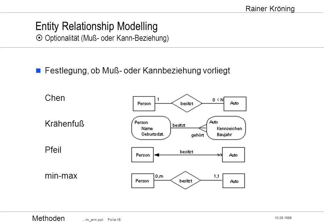 Methoden …\m_erm.ppt Folie:15 10.08.1999 Rainer Kröning Entity Relationship Modelling Optionalität (Muß- oder Kann-Beziehung) Festlegung, ob Muß- oder