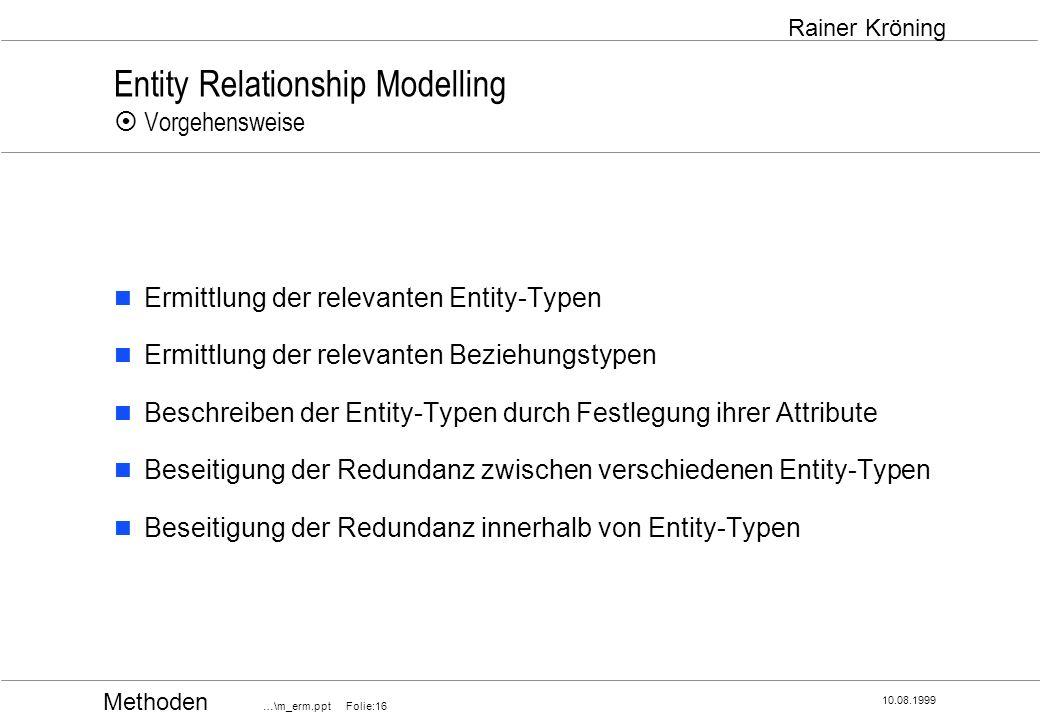 Methoden …\m_erm.ppt Folie:16 10.08.1999 Rainer Kröning Entity Relationship Modelling Vorgehensweise Ermittlung der relevanten Entity-Typen Ermittlung