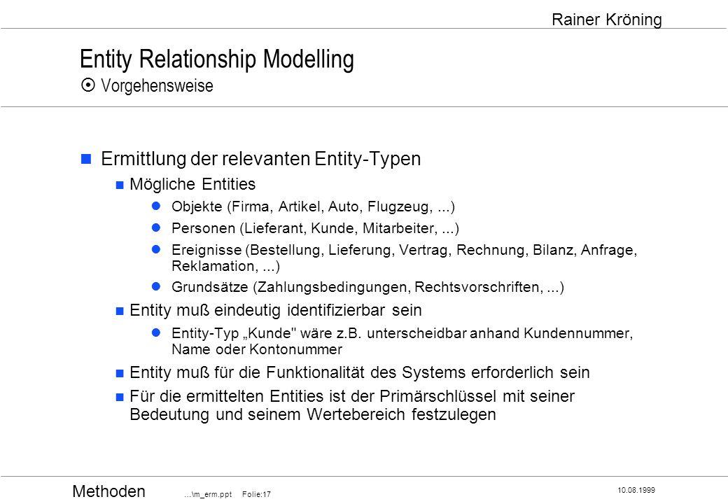 Methoden …\m_erm.ppt Folie:17 10.08.1999 Rainer Kröning Entity Relationship Modelling Vorgehensweise Ermittlung der relevanten Entity-Typen Mögliche E