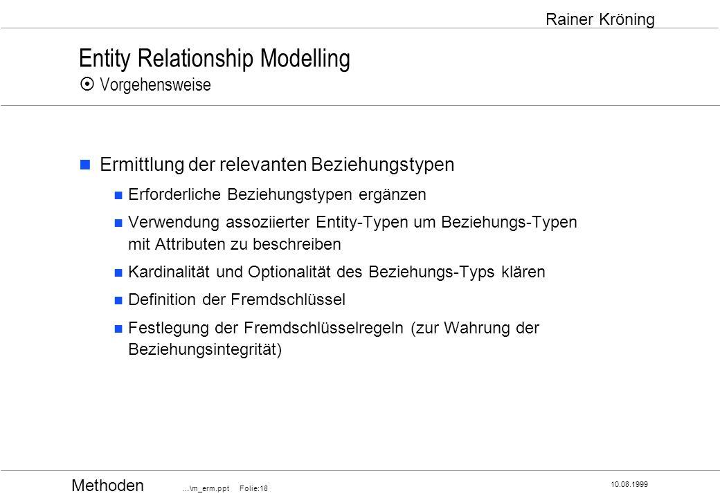 Methoden …\m_erm.ppt Folie:18 10.08.1999 Rainer Kröning Entity Relationship Modelling Vorgehensweise Ermittlung der relevanten Beziehungstypen Erforde