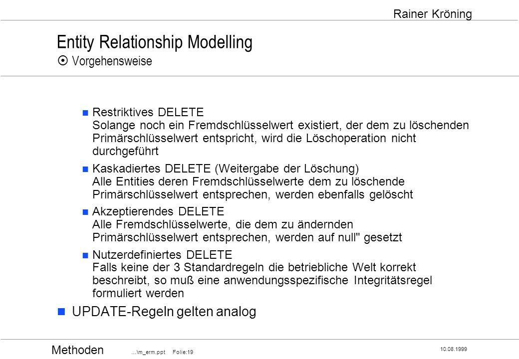 Methoden …\m_erm.ppt Folie:19 10.08.1999 Rainer Kröning Entity Relationship Modelling Vorgehensweise Restriktives DELETE Solange noch ein Fremdschlüss