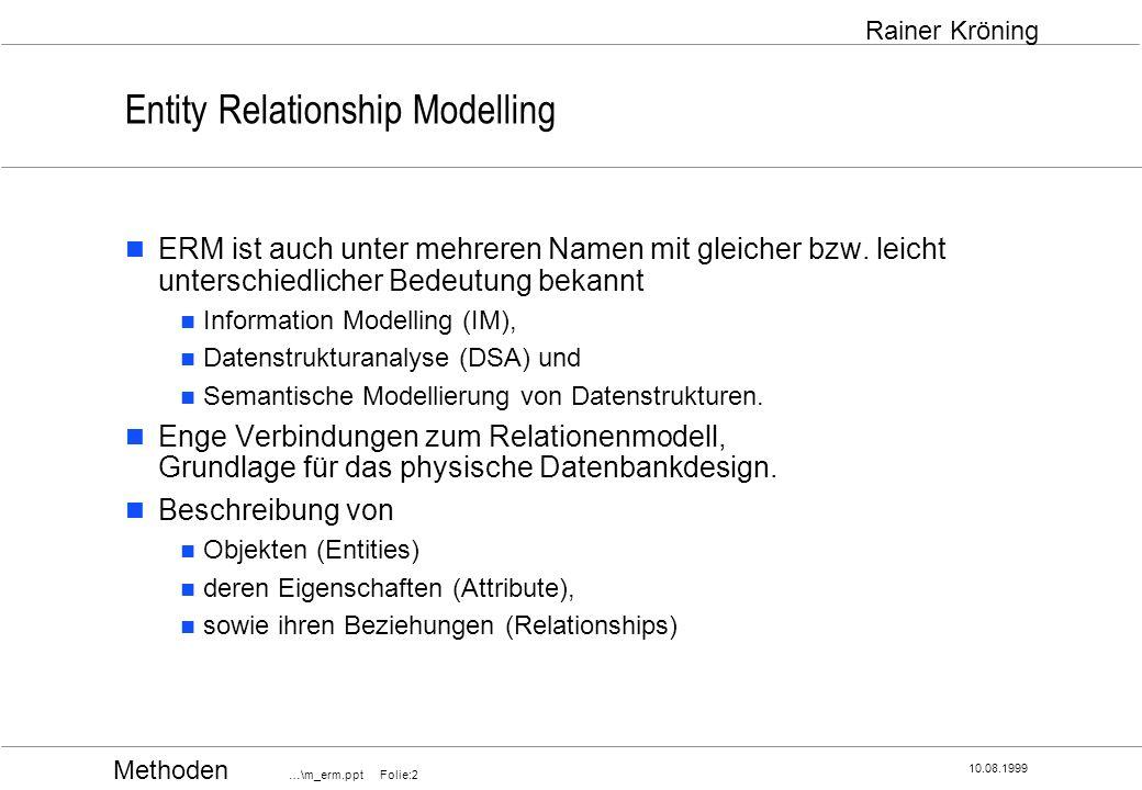 Methoden …\m_erm.ppt Folie:13 10.08.1999 Rainer Kröning Entity Relationship Modelling Grafische Notation Attributdarstellung Attribute (Eigenschaften) eines Entity-Typs können im Diagramm durch Ovale dargestellt werden, die mit dem Entity-Typ durch eine Linie verbunden werden