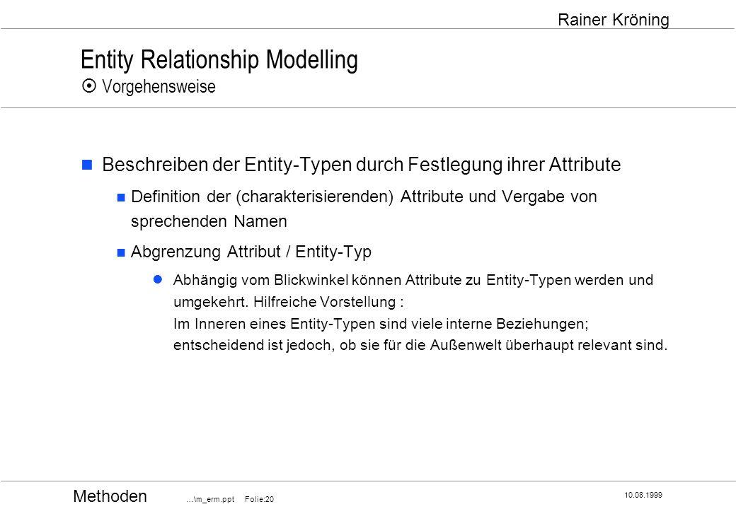 Methoden …\m_erm.ppt Folie:20 10.08.1999 Rainer Kröning Entity Relationship Modelling Vorgehensweise Beschreiben der Entity-Typen durch Festlegung ihr