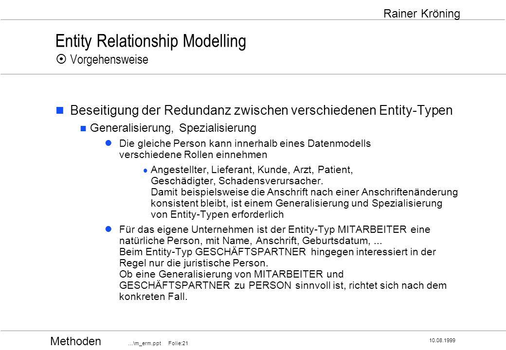 Methoden …\m_erm.ppt Folie:21 10.08.1999 Rainer Kröning Entity Relationship Modelling Vorgehensweise Beseitigung der Redundanz zwischen verschiedenen