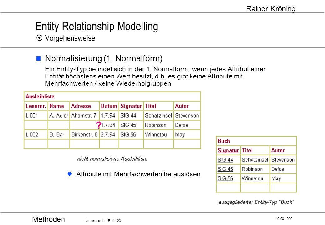 Methoden …\m_erm.ppt Folie:23 10.08.1999 Rainer Kröning Entity Relationship Modelling Vorgehensweise Normalisierung (1. Normalform) Ein Entity-Typ bef