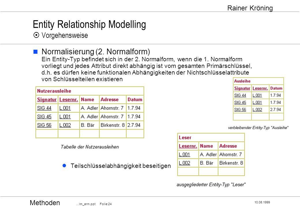 Methoden …\m_erm.ppt Folie:24 10.08.1999 Rainer Kröning Entity Relationship Modelling Vorgehensweise Normalisierung (2. Normalform) Ein Entity-Typ bef
