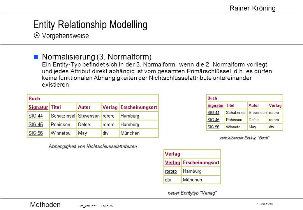 Methoden …\m_erm.ppt Folie:25 10.08.1999 Rainer Kröning Entity Relationship Modelling Vorgehensweise Normalisierung (3. Normalform) Ein Entity-Typ bef
