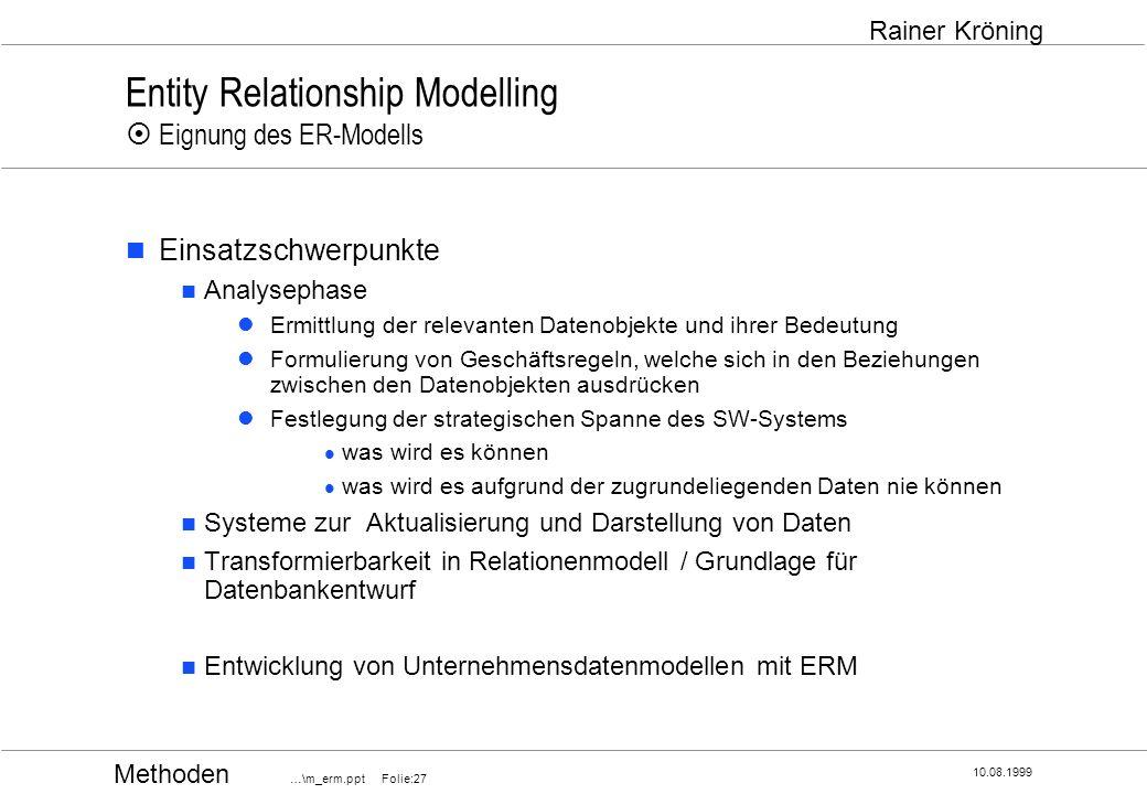 Methoden …\m_erm.ppt Folie:27 10.08.1999 Rainer Kröning Entity Relationship Modelling Eignung des ER-Modells Einsatzschwerpunkte Analysephase Ermittlu