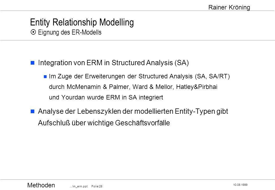 Methoden …\m_erm.ppt Folie:28 10.08.1999 Rainer Kröning Entity Relationship Modelling Eignung des ER-Modells Integration von ERM in Structured Analysi