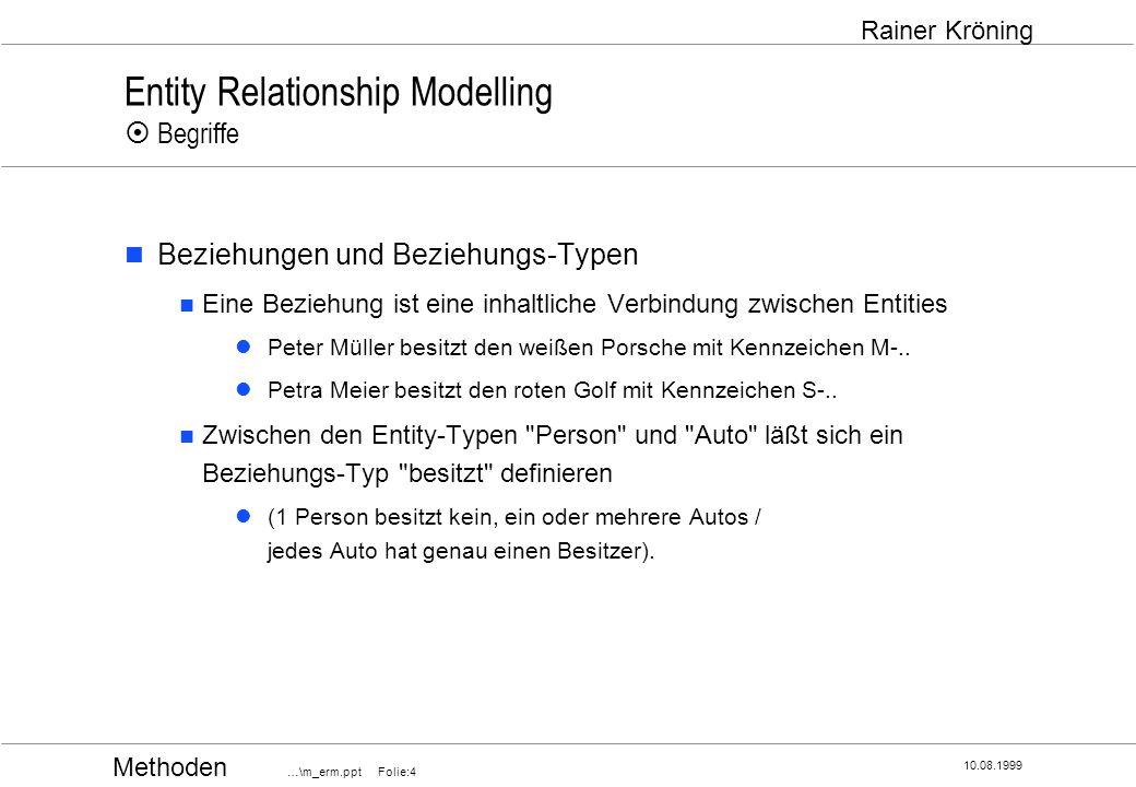 Methoden …\m_erm.ppt Folie:15 10.08.1999 Rainer Kröning Entity Relationship Modelling Optionalität (Muß- oder Kann-Beziehung) Festlegung, ob Muß- oder Kannbeziehung vorliegt Chen Krähenfuß Pfeil min-max