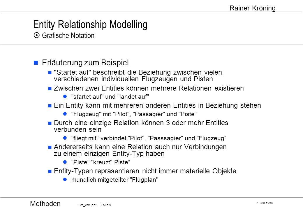 Methoden …\m_erm.ppt Folie:20 10.08.1999 Rainer Kröning Entity Relationship Modelling Vorgehensweise Beschreiben der Entity-Typen durch Festlegung ihrer Attribute Definition der (charakterisierenden) Attribute und Vergabe von sprechenden Namen Abgrenzung Attribut / Entity-Typ Abhängig vom Blickwinkel können Attribute zu Entity-Typen werden und umgekehrt.