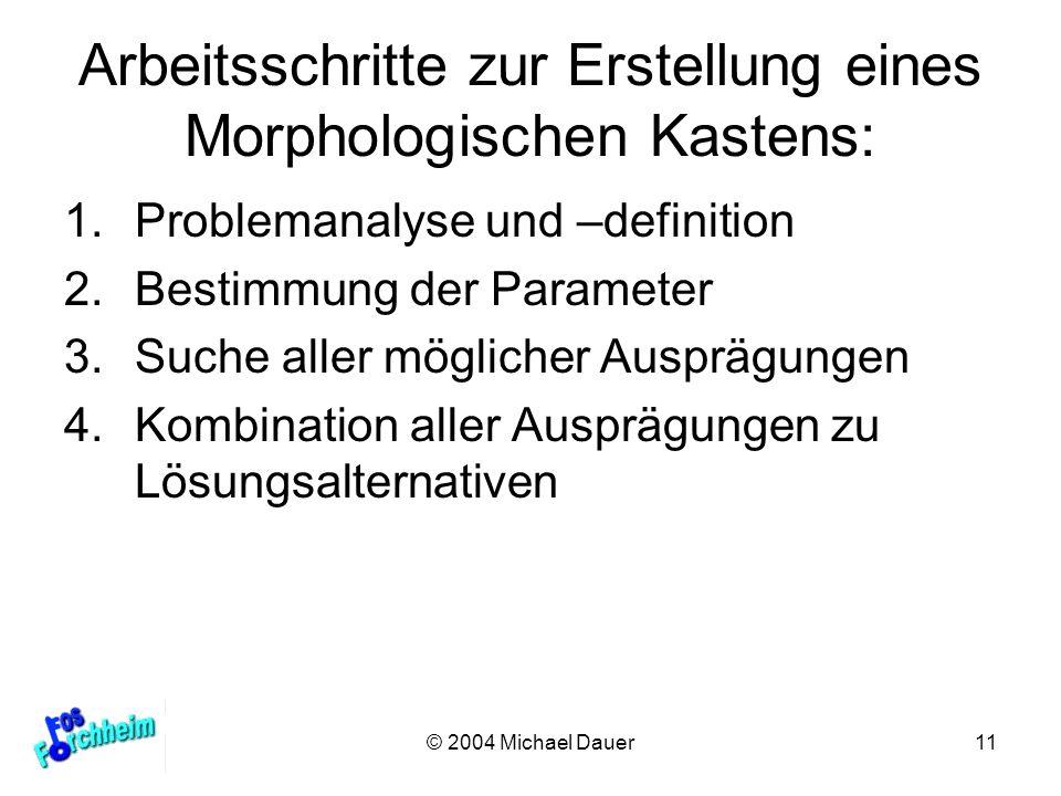 © 2004 Michael Dauer11 Arbeitsschritte zur Erstellung eines Morphologischen Kastens: 1.Problemanalyse und –definition 2.Bestimmung der Parameter 3.Suc
