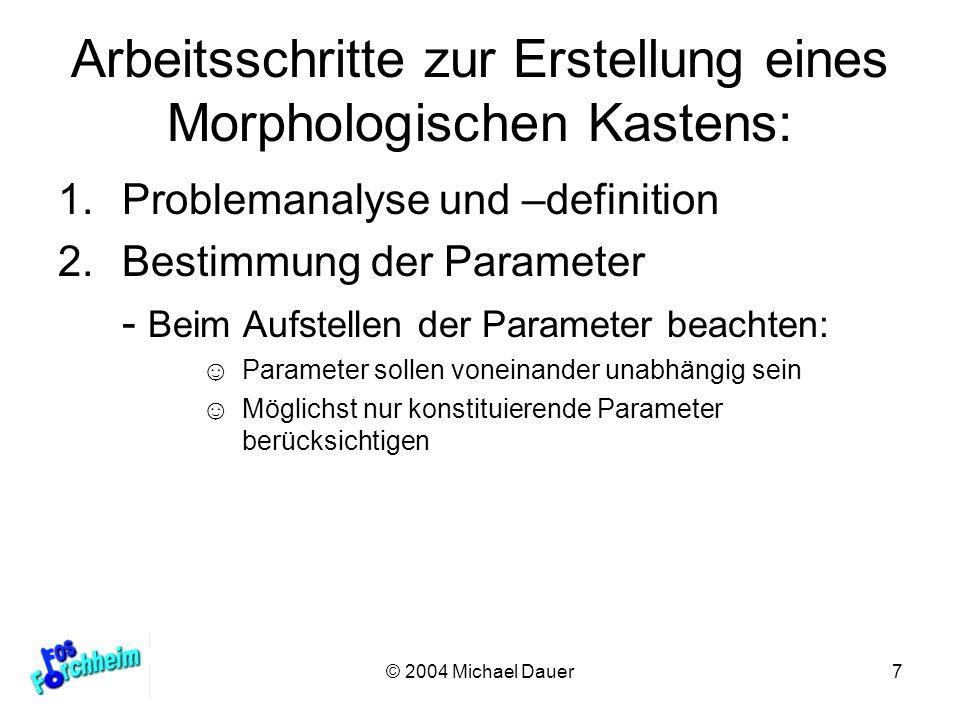 © 2004 Michael Dauer7 Arbeitsschritte zur Erstellung eines Morphologischen Kastens: 1.Problemanalyse und –definition 2.Bestimmung der Parameter - Beim