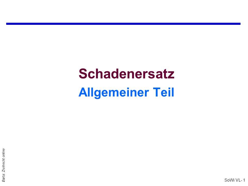 SoWi VL- 1 Barta: Zivilrecht online Schadenersatz Allgemeiner Teil