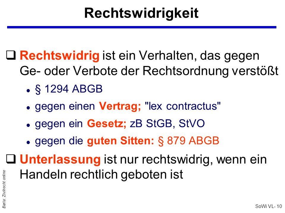 SoWi VL- 10 Barta: Zivilrecht online Rechtswidrigkeit qRechtswidrig ist ein Verhalten, das gegen Ge- oder Verbote der Rechtsordnung verstößt l § 1294