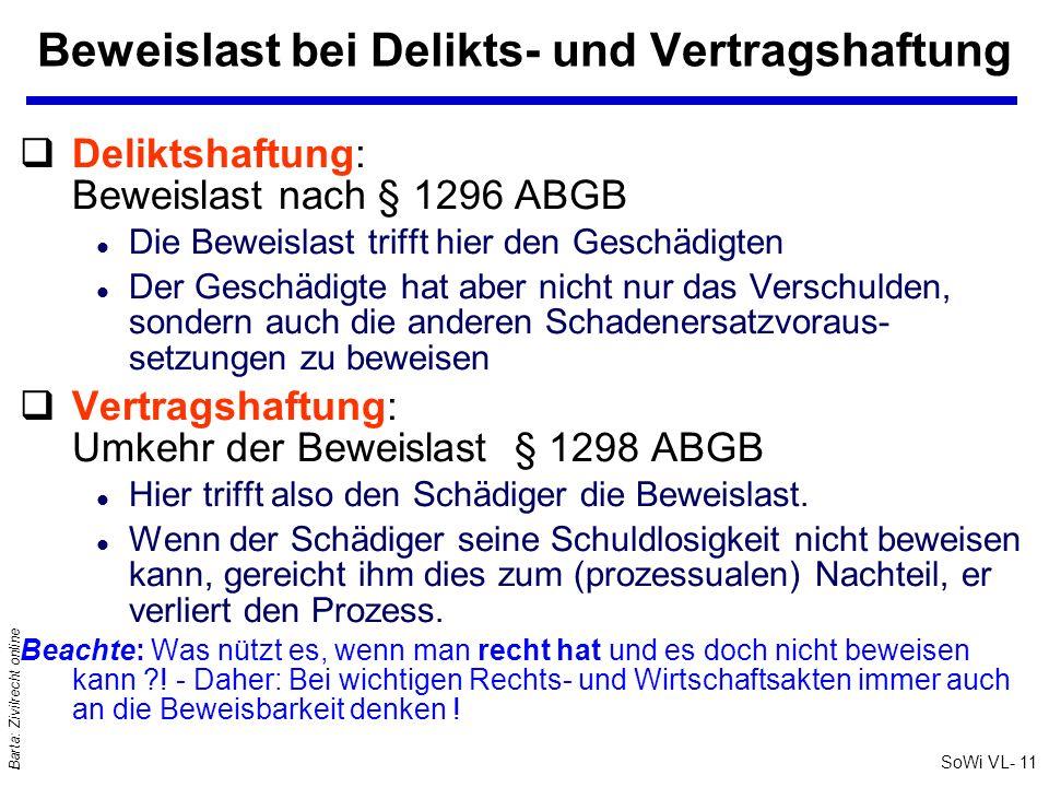 SoWi VL- 11 Barta: Zivilrecht online Beweislast bei Delikts- und Vertragshaftung qDeliktshaftung: Beweislast nach § 1296 ABGB l Die Beweislast trifft