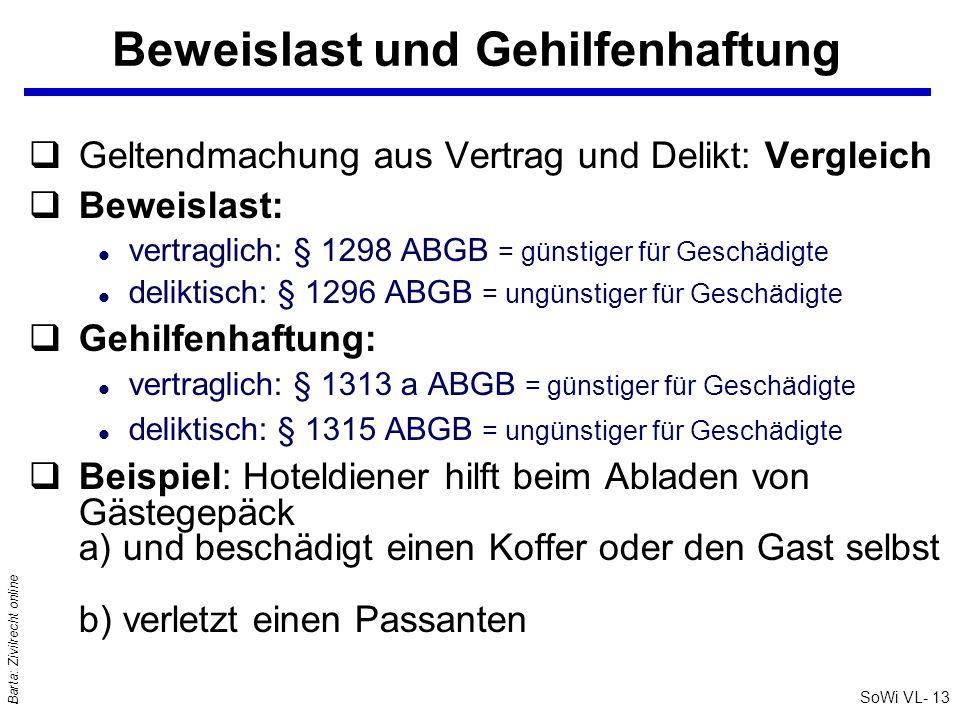 SoWi VL- 13 Barta: Zivilrecht online Beweislast und Gehilfenhaftung qGeltendmachung aus Vertrag und Delikt: Vergleich qBeweislast: l vertraglich: § 12