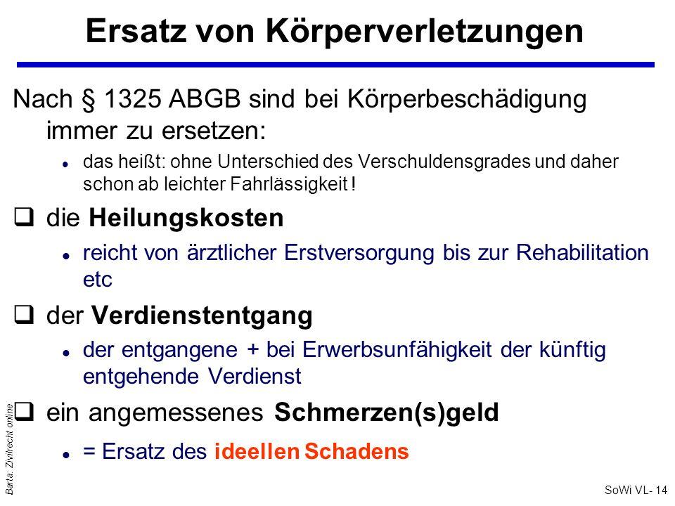 SoWi VL- 14 Barta: Zivilrecht online Ersatz von Körperverletzungen Nach § 1325 ABGB sind bei Körperbeschädigung immer zu ersetzen: l das heißt: ohne U
