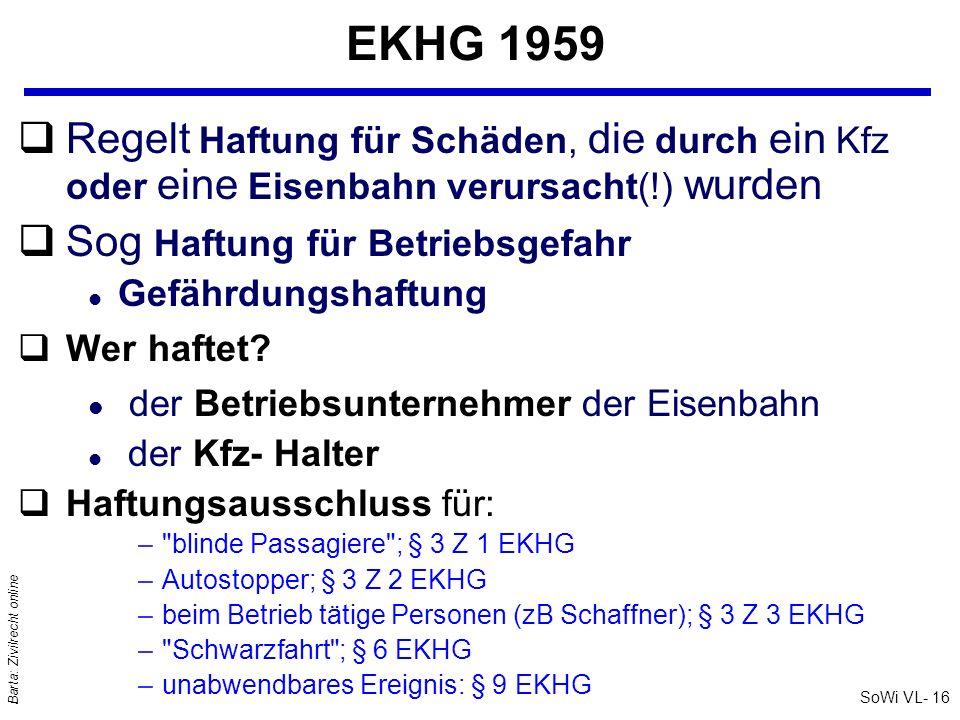 SoWi VL- 16 Barta: Zivilrecht online EKHG 1959 qRegelt Haftung für Schäden, die durch ein Kfz oder eine Eisenbahn verursacht(!) wurden qSog Haftung fü