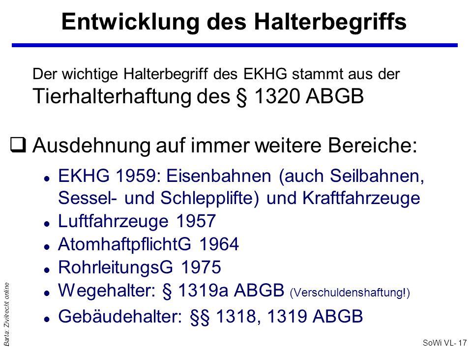 SoWi VL- 17 Barta: Zivilrecht online Entwicklung des Halterbegriffs Der wichtige Halterbegriff des EKHG stammt aus der Tierhalterhaftung des § 1320 AB