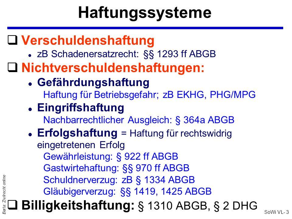SoWi VL- 3 Barta: Zivilrecht online Haftungssysteme qVerschuldenshaftung l zB Schadenersatzrecht: §§ 1293 ff ABGB qNichtverschuldenshaftungen: l Gefäh