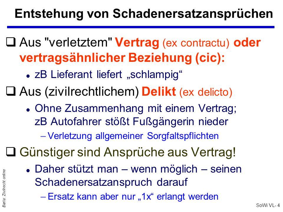 SoWi VL- 4 Barta: Zivilrecht online Entstehung von Schadenersatzansprüchen qAus