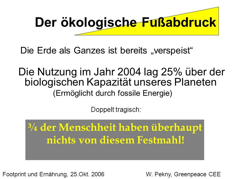 Die Erde als Ganzes ist bereits verspeist Die Nutzung im Jahr 2004 lag 25% über der biologischen Kapazität unseres Planeten (Ermöglicht durch fossile