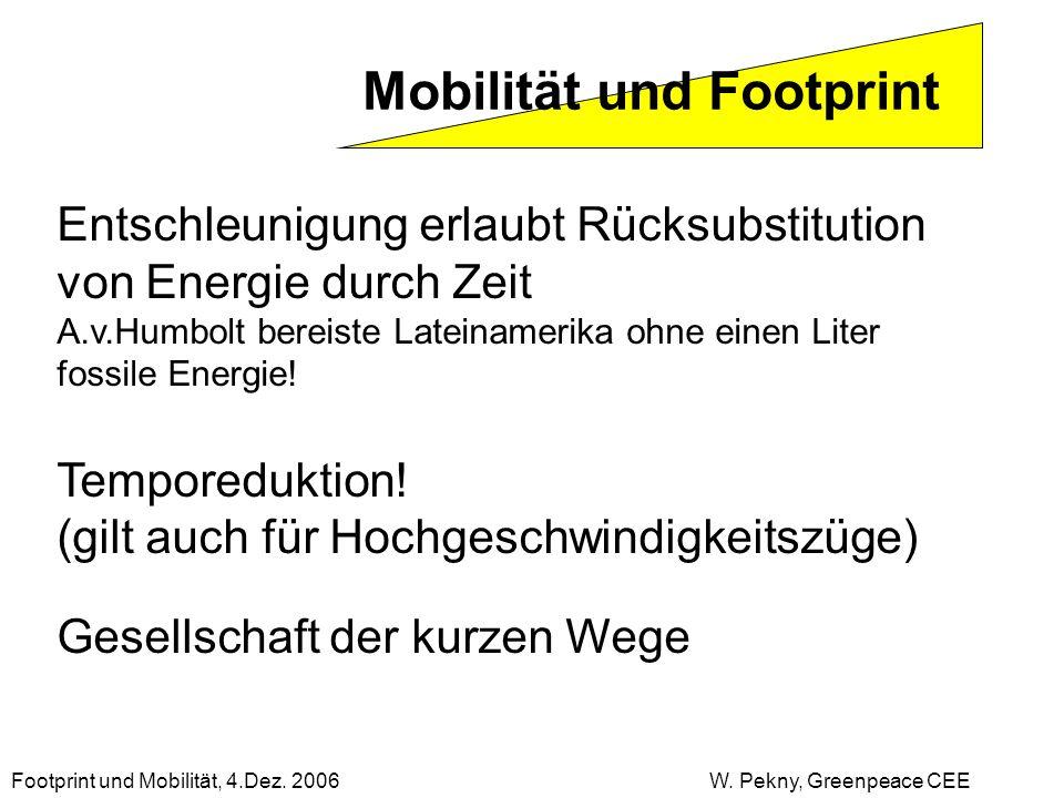 Mobilität und Footprint Entschleunigung erlaubt Rücksubstitution von Energie durch Zeit A.v.Humbolt bereiste Lateinamerika ohne einen Liter fossile En