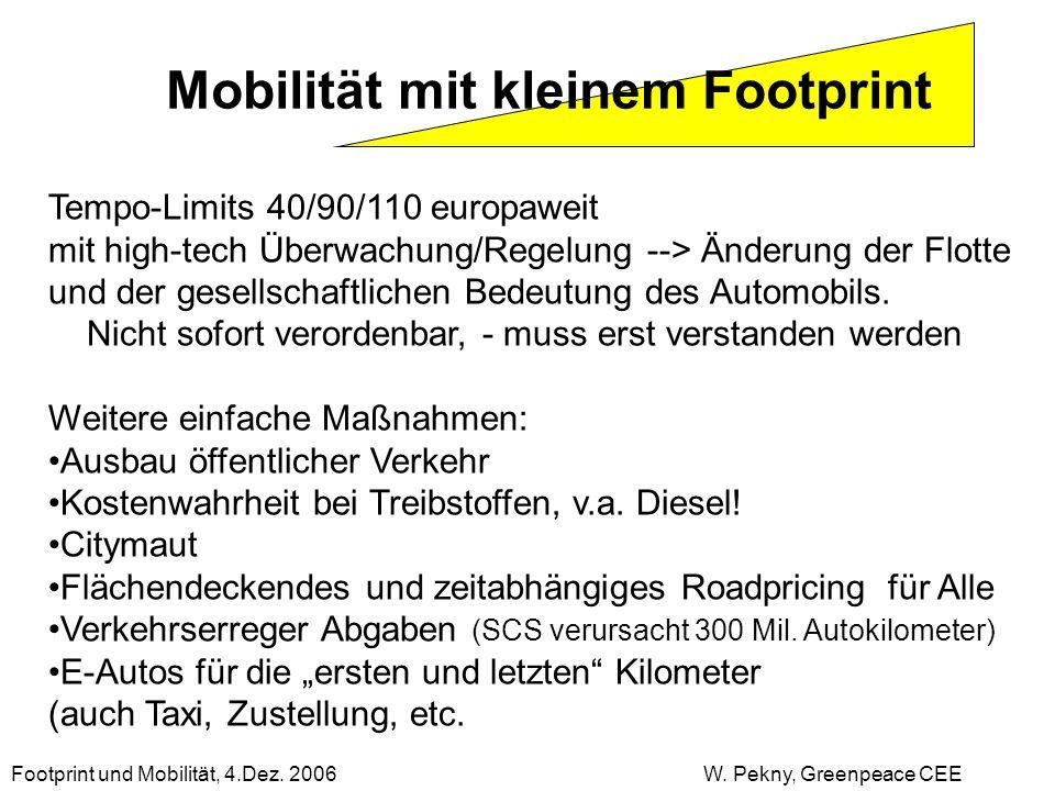 Mobilität mit kleinem Footprint Tempo-Limits 40/90/110 europaweit mit high-tech Überwachung/Regelung --> Änderung der Flotte und der gesellschaftliche