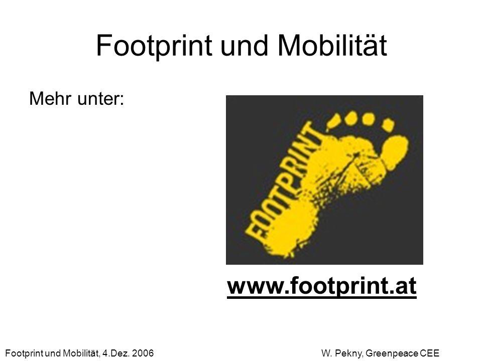 Footprint und Mobilität Mehr unter: www.footprint.at Footprint und Mobilität, 4.Dez. 2006 W. Pekny, Greenpeace CEE