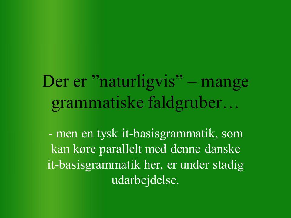 Der er naturligvis – mange grammatiske faldgruber… - men en tysk it-basisgrammatik, som kan køre parallelt med denne danske it-basisgrammatik her, er