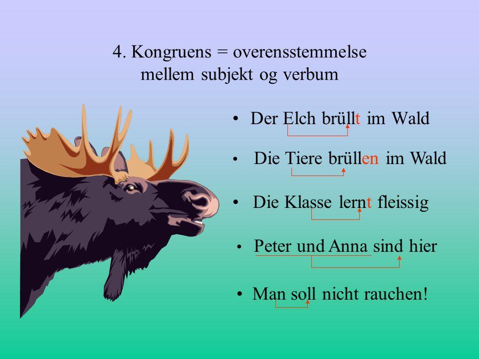 4. Kongruens = overensstemmelse mellem subjekt og verbum Der Elch brüllt im Wald Die Tiere brüllen im Wald Die Klasse lernt fleissig Peter und Anna si