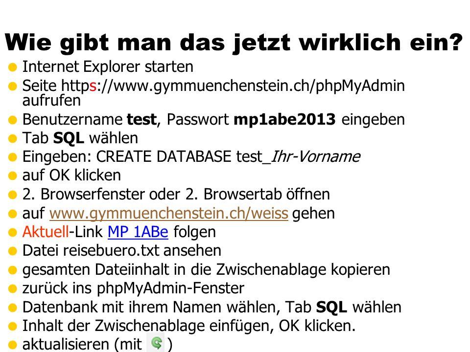 Wie gibt man das jetzt wirklich ein? Internet Explorer starten Seite https://www.gymmuenchenstein.ch/phpMyAdmin aufrufen Benutzername test, Passwort m