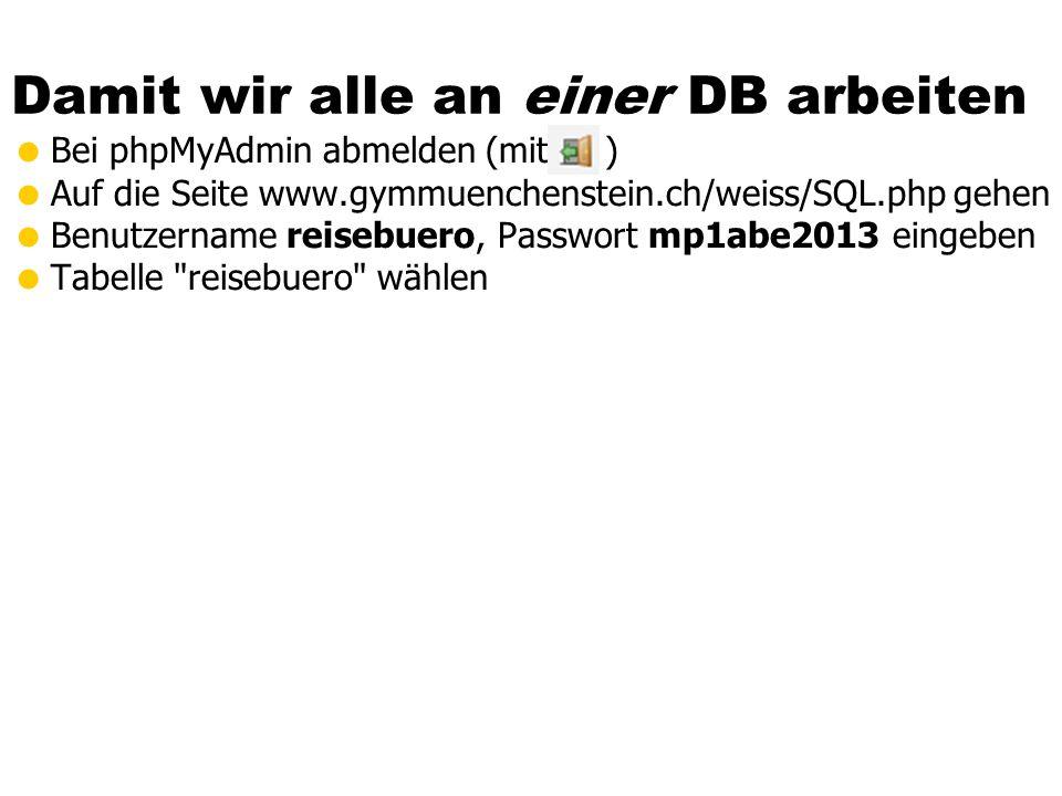 Damit wir alle an einer DB arbeiten Bei phpMyAdmin abmelden (mit ) Auf die Seite www.gymmuenchenstein.ch/weiss/SQL.php gehen Benutzername reisebuero,