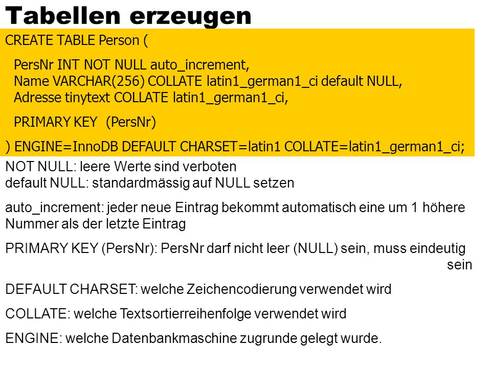 Tabellen erzeugen CREATE TABLE Person ( PersNr INT NOT NULL auto_increment, Name VARCHAR(256) COLLATE latin1_german1_ci default NULL, Adresse tinytext