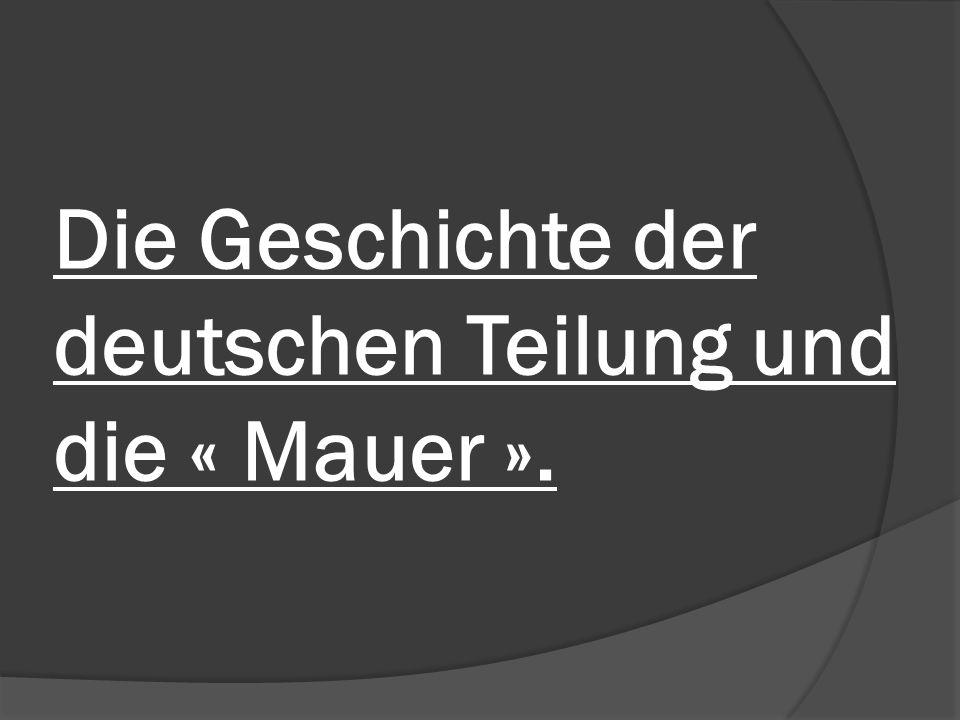 Ich werde über folgende Punkte sprechen: Zuerst die geopolitische Situation Deutschlands nach dem 2.