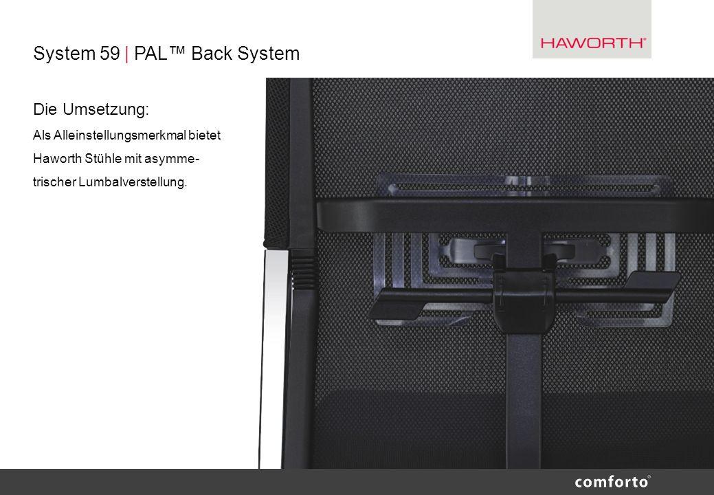 System 59 | PAL Back System Die Umsetzung: Als Alleinstellungsmerkmal bietet Haworth Stühle mit asymme- trischer Lumbalverstellung.