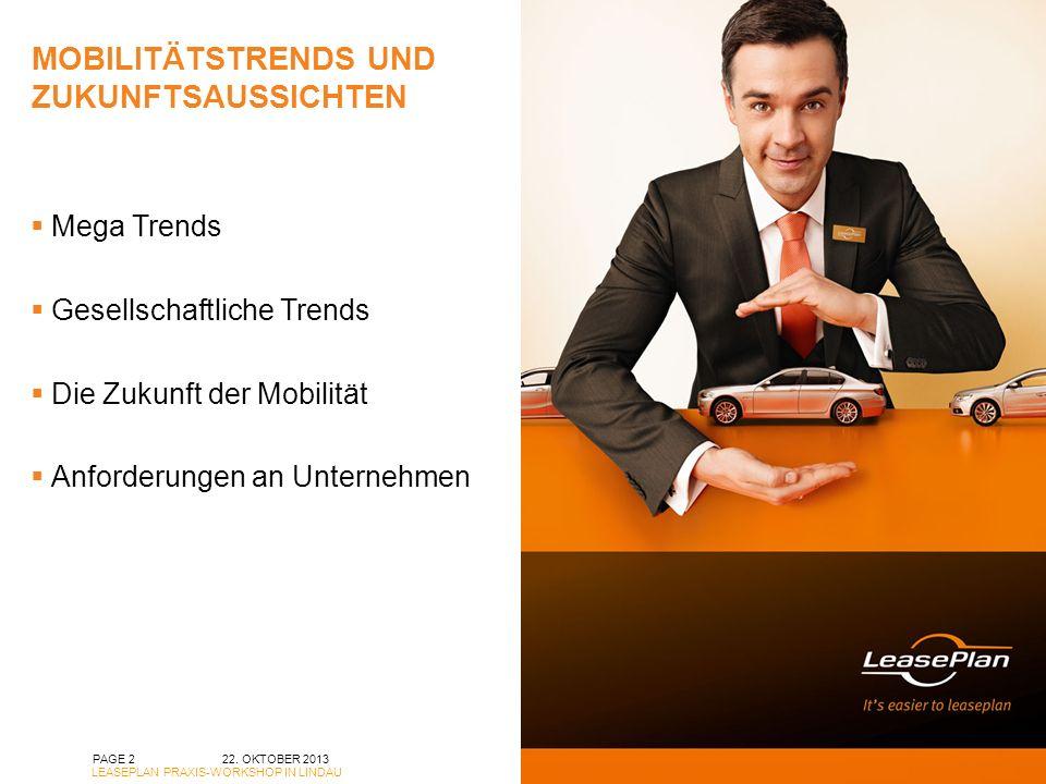 MOBILITÄTSTRENDS UND ZUKUNFTSAUSSICHTEN PAGE 2 Mega Trends Gesellschaftliche Trends Die Zukunft der Mobilität Anforderungen an Unternehmen 22.