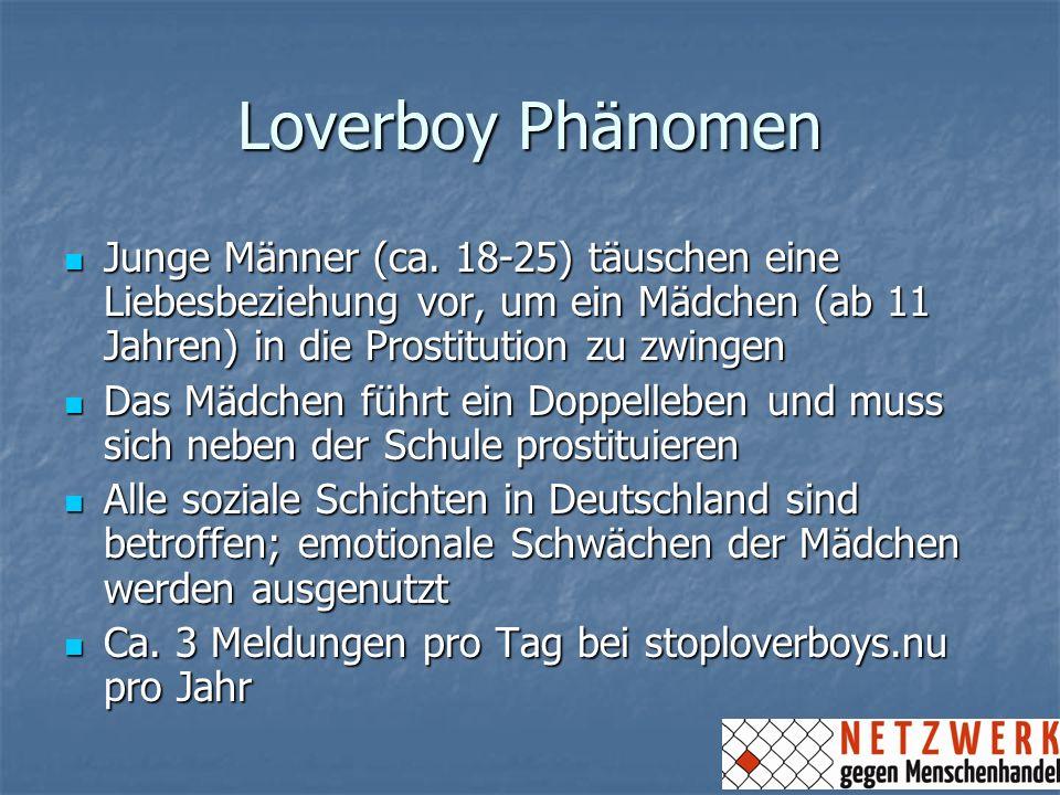 Loverboy Phänomen Junge Männer (ca. 18-25) täuschen eine Liebesbeziehung vor, um ein Mädchen (ab 11 Jahren) in die Prostitution zu zwingen Junge Männe
