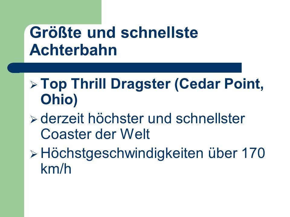 Achterbahn die älteste Achterbahn Tivoli: in Kopenhagen (seit 1914) Reiz: Kräfte die am Körper wirken Ursache: starke Beschleunigungen