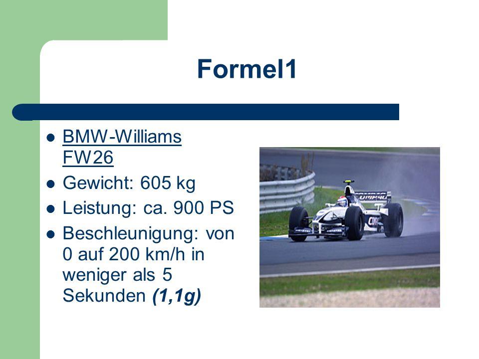 Formel 1 Formel-1-Bolide beschleunigt in 2,8 Sekunden von 0 auf 100 (a=1g) nach 4,2 Sekunden bereits 160 km/h nach Bremsung bei 110 km/h steht das Aut